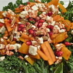Kale, Fuyu Persimmon, Pomegranate and Roasted Squash Salad